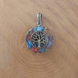 Hayat ağacı orgonit kolye - Ganslı ve 7 çakra taşlı
