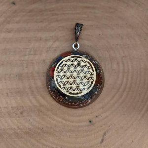 Yaşam çiçeği orgonit kolye - Ganslı ve 7 çakra taşlı altın