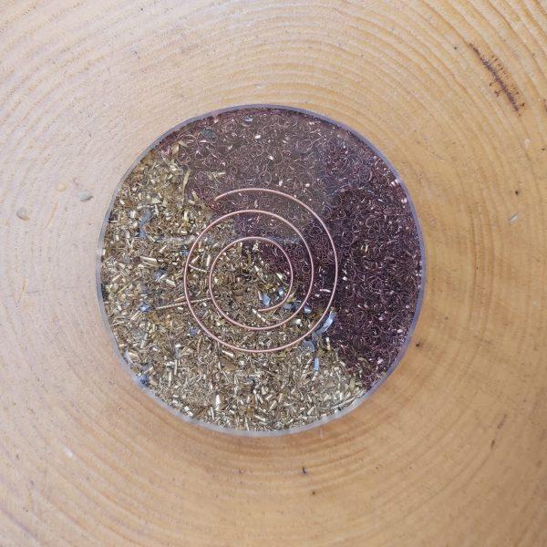 Orgonit bardak altlığı - 7 Çakra taşlı ve Ganslı