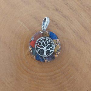 Hayat ağacı orgonit kolye ganslı ve 7 çakra taşlı düz yüzey gümüş renk