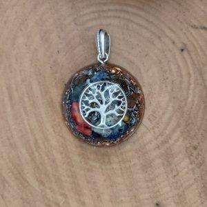 Hayat ağacı orgonit kolye ganslı ve 7 çakra taşlı gümüş renk