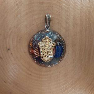 Fatmaana sembolü orgonit kolye - Ganslı ve 7 çakra taşlı sarı